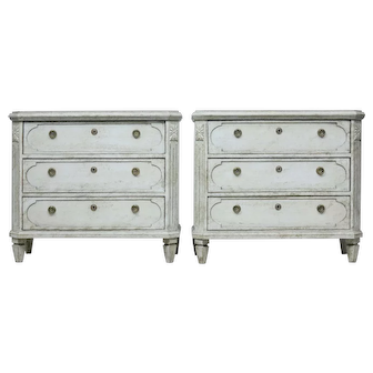 Fine pair of 19th century Swedish painted commodes