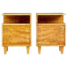 Pair of mid 20th century Swedish birch bedside tables by Mobel AB Altorp