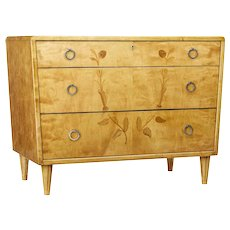 Mid 20th century Scandinavian birch inlaid chest of drawers