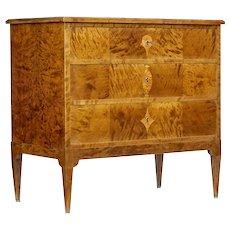 Early 20th century Scandinavian art nouveau birch chest of drawers