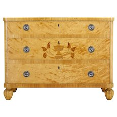 Scandinavian Art Deco birch inlaid chest of drawers