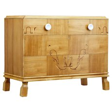 Mid 20th century Scandinavian elm inlaid chest of drawers