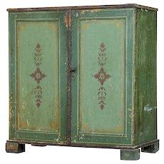 19th century Swedish pine painted 2 door cupboard