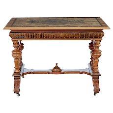 19th Century decorative burr walnut library table