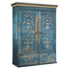 19th century painted Swedish oak wardrobe cupboard