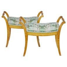Pair of late 19th Century Swedish birch stools