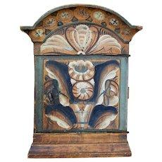 Rare 19th century rustic Swedish small painted cupboard