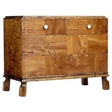 Scandinavian art deco elm and Birch chest of drawers