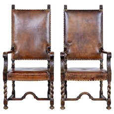 Pair of 19th Century carved oak leather armchairs