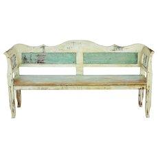 19th century painted Swedish pine bench