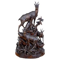 19th Century carved black forest ibex sculpture linden wood