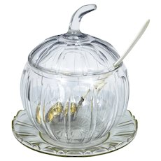Early 20th Century cut glass pumpkin serving punch bowl ideal for halloween