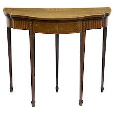 19th century Sheraton revival inlaid mahogany card table