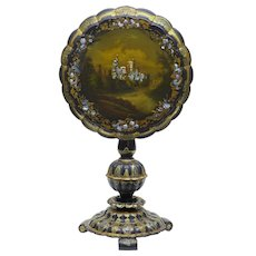 19th Century papier mache painted mother of pearl inlaid tilt top table