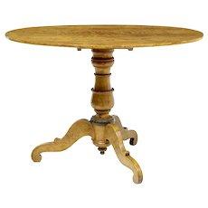 19th century Swedish birch tilt top oval table