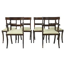 1920's set of 6 Regency influenced mahogany brass inlaid dining chairs