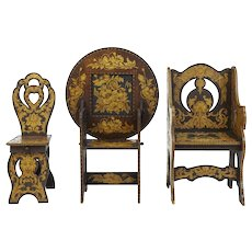 Early 20th century American arts and crafts collection of poker work furniture