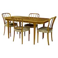 1970's Swedish bodafors beech and walnut dining room suite