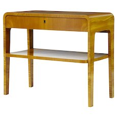20th century Art Deco style birch bedside occasional table