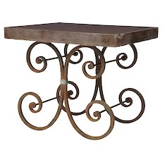 1920's French iron baker tables marble top