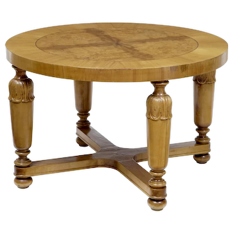 Art Deco swedish carved birch and elm coffee table