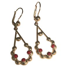14 K Yellow Gold Pierced Red Coral Dangle Earrings