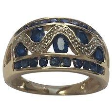 10k Yellow Gold 2.00 Carat Blue Sapphire & Diamond