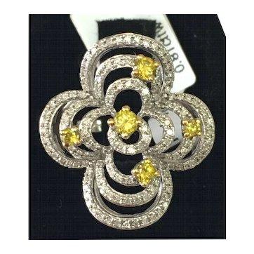 10k White Gold, Yellow & White Diamond Flower Ring