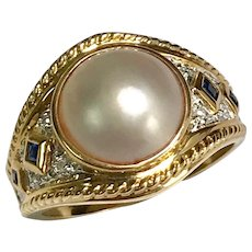 10 K Yellow Gold Mabe Pearl, Sapphire & Diamond Ring