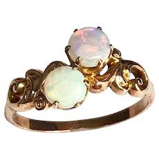 Victorian 10 Karat Rose Gold Double Opal Ring