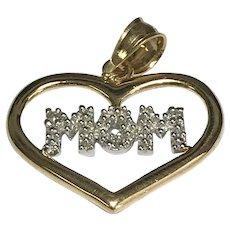 10 K Yellow/White Gold Diamond Mom Heart