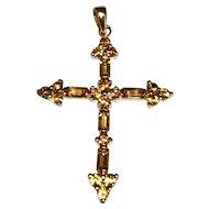 10 K Yellow Gold Citrine Cross