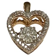 10 K Yellow Gold 0.50 CTW Floating Diamond Heart Pendant