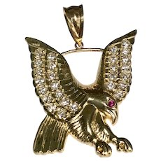 10 K Yellow Gold Simulated Diamond & Ruby Large Eagle Pendant