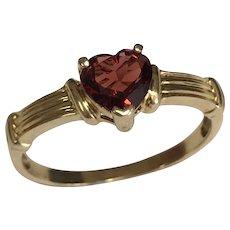 10 K Yellow Gold 0.50 Carat Heart Shape Garnet Ring