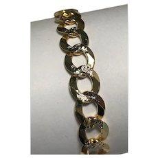 10 Karat Two Tone Gold 3.10mm Diamond Cut Curb Link Bracelet