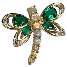 10 K Yellow Gold Opal & Chrome Diopside Dragon Fly Pin