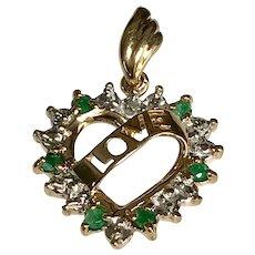 10 k Yellow Gold Emerald & Diamond Love Open Heart Pendant
