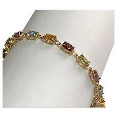 10 K Yellow Gold Colorful Gemstone Bracelet