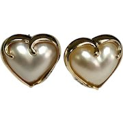 14 K yellow Gold Heart Mother Of Pearl & Diamond Lever Back Pierced Earrings