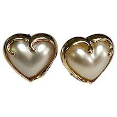 14 K yellow Gold Heart Mother Of Pearl & Diamond Lever Back Pierced Earrings