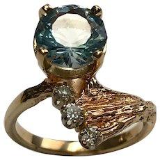 14 K Yellow Gold Modernist 2.5 carat Topaz and Diamond Ring