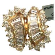 14 k Yellow Gold Baguette Diamond Cocktail Ring ~ Circa 1970's