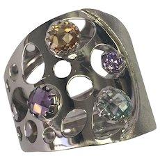 14 K White Gold Modernist Multi Gemstone Wide Ring