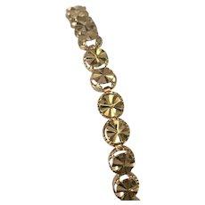 14 K Yellow Gold Diamond Cut Bracelet