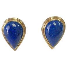 14k Yellow Gold Pear Shape Lapis Lazuli Lever Back Earrings