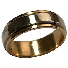 14 K Two Tone Art Carved 5.5 mm Wedding Band