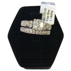 14k White Gold 1.18 CTW Diamond Wedding Set