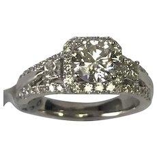 14k White Gold 1.88 Carat Solitaire Diamond Engagement Ring