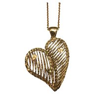 14 K Yellow Gold Fancy Wire Puffed Heart Necklace